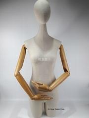 長脖子半身包白麻布女裝展示模特配木手臂可旋轉頭