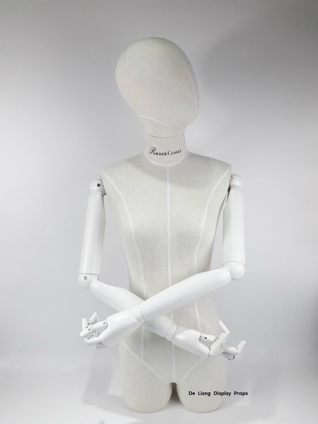 包布女半身模特配白色木手臂女装展示模特 1