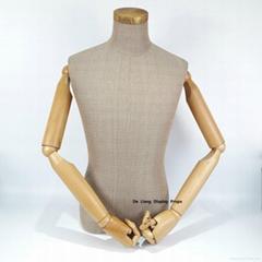 包黄麻布半身男模特配木手臂展示道具