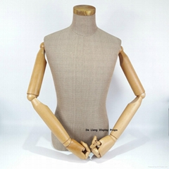 grament window dispaly elegant torso shallow grey color male half body mannequin