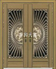 YDF-8080(精雕鑄鋁花)豪華對開門(拉絲青古銅)