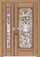 YDF-8064(精雕鑄鋁花)豪華子母門(紅古銅拉絲)