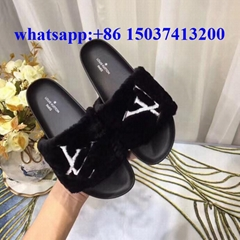 Louis Vuitton wool sandals lv flat women shoes sneakers warm slipper winter