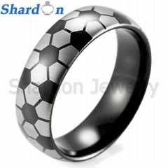 Men's 8mm IP black tungsten ring with engraved football pattern