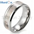 8 mm镶天然鹿角纯钛结婚戒指 1