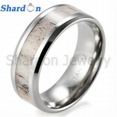 8 mm镶天然鹿角纯钛结婚戒指
