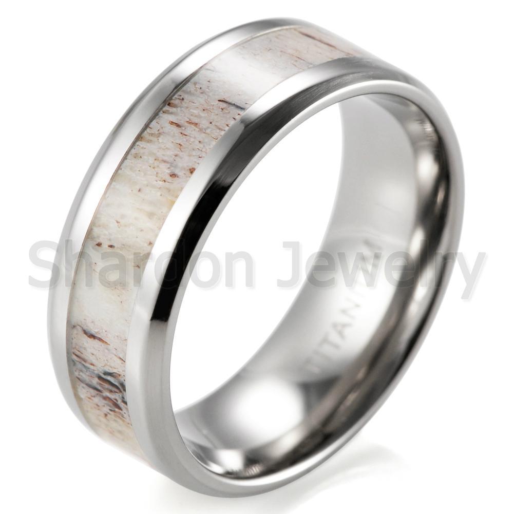 8 mm鑲天然鹿角純鈦結婚戒指 2