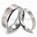 8 mm鑲天然鹿角純鈦結婚戒指 3