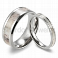 8 mm镶天然鹿角纯钛结婚戒指 3