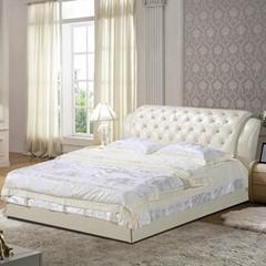 皮床木业床真皮床软床现代床储物床真皮双人婚床储物床软体床现代