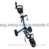 Qwik-Fold Three Wheel Push Golf Cart Free Umbrella Holder Folds Down In One Seco