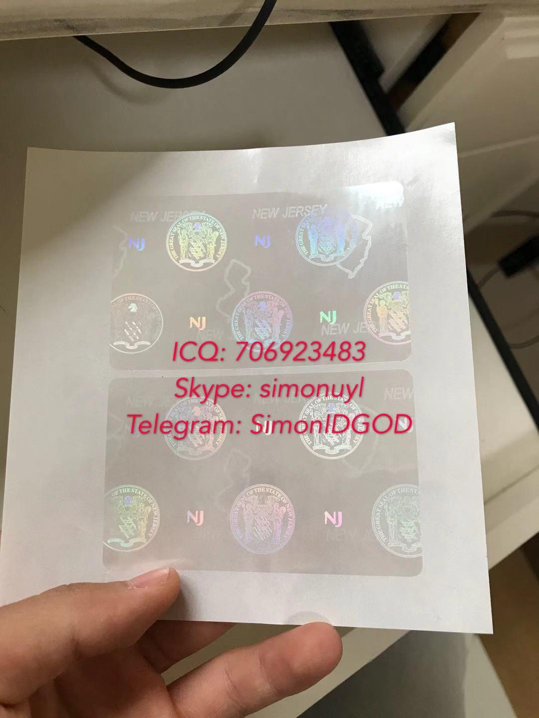New Jersey NJ ID DL hologram overlay sticker WITH UV New Jersey ID template 4