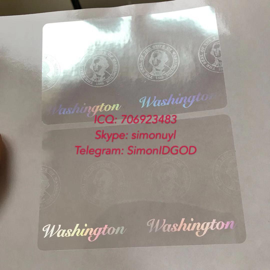Washington WA ID DL hologram overlay sticker WITH UV Washington ID template 1