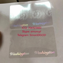 Washington WA ID DL hologram overlay sticker WITH UV Washington ID template