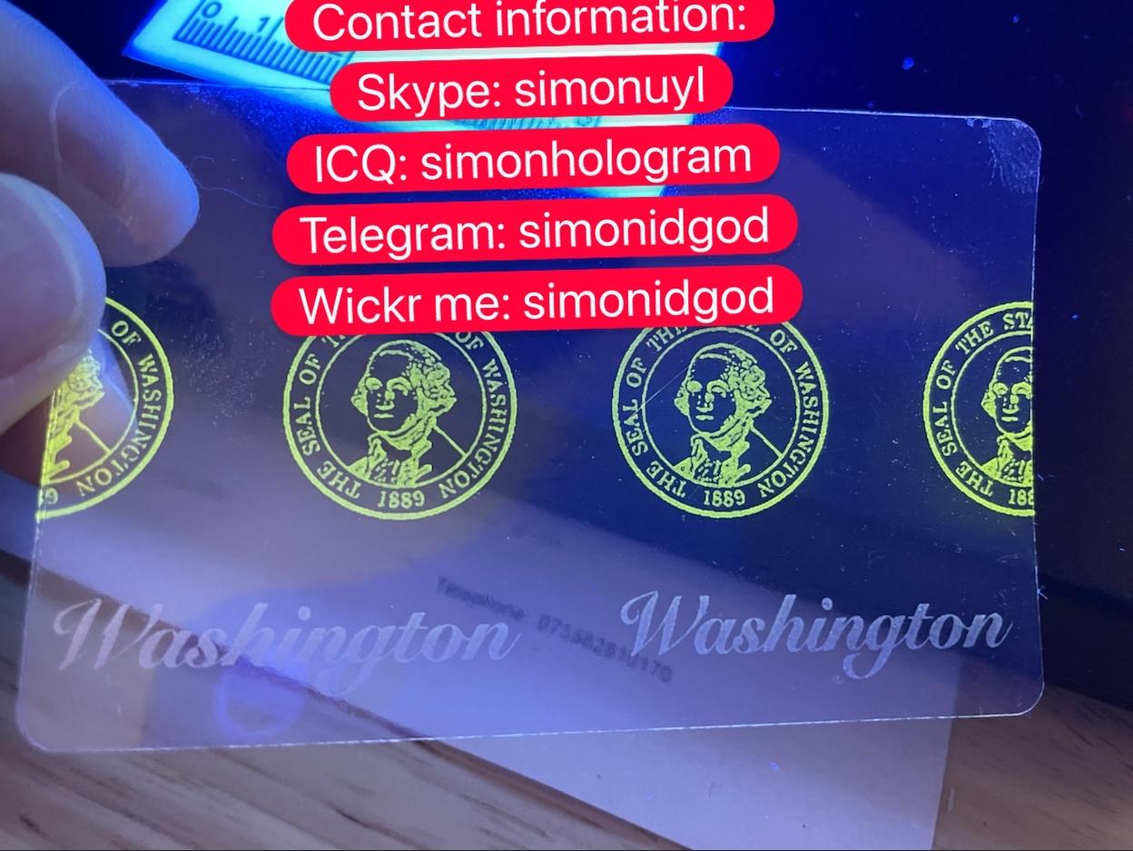 Washington WA ID DL hologram OVI overlay sticker WITH UV Washington ID template 3