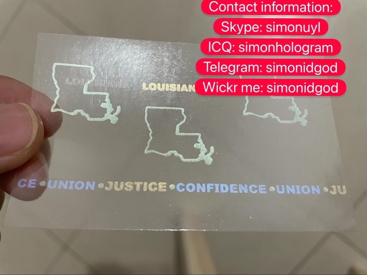Louisiana LA ID UV hologram overlay sticker Louisiana ID template 1