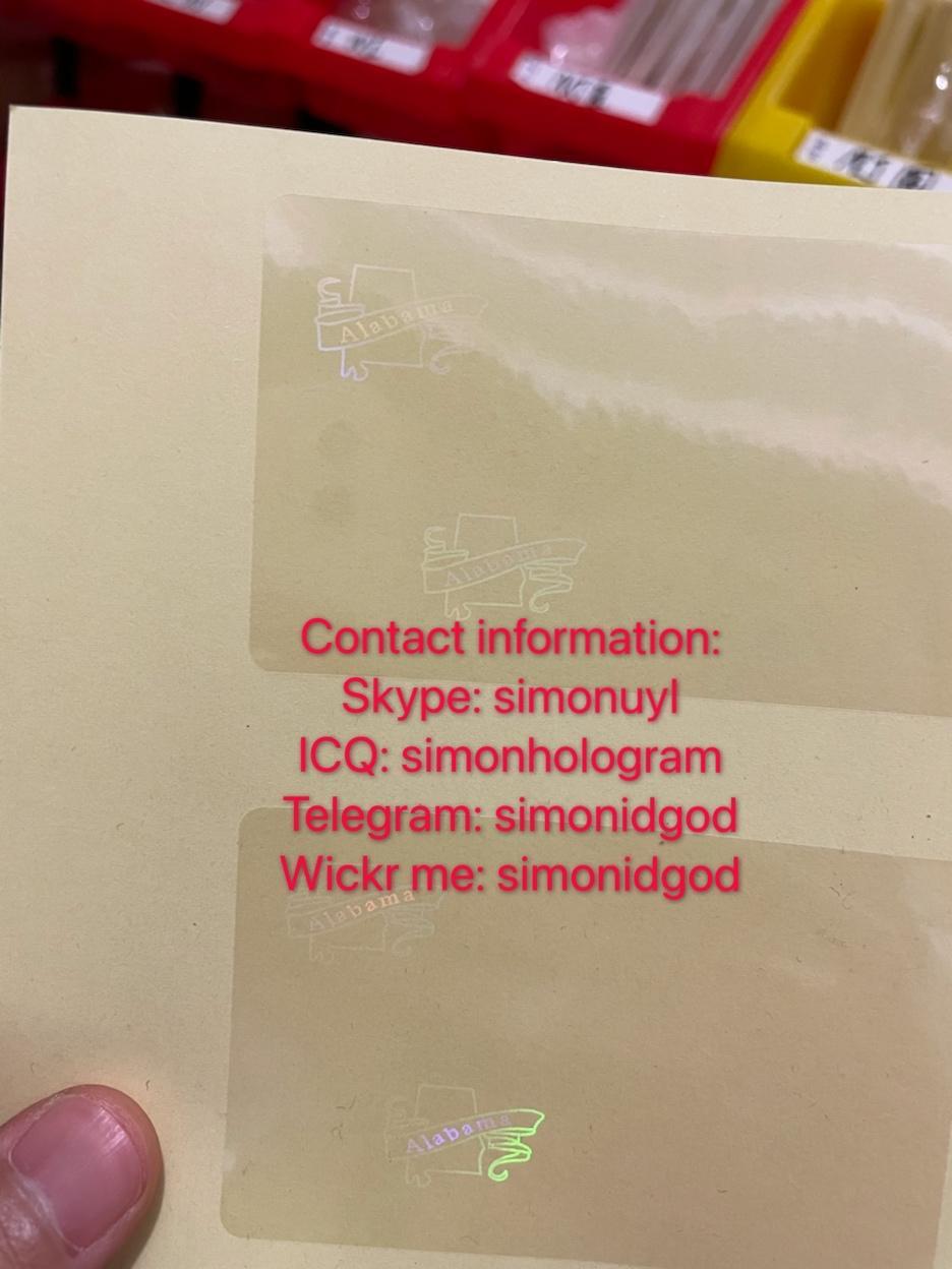 Alabama AL ID hologram overlay Alabama ID templates