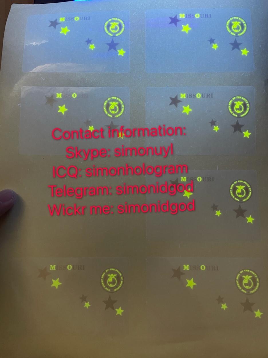 Missouri MO hologram overlay WITH UV OVI hologram sticker overlay for MO DL 4