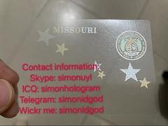 Missouri MO hologram overlay WITH UV OVI hologram sticker overlay for MO DL