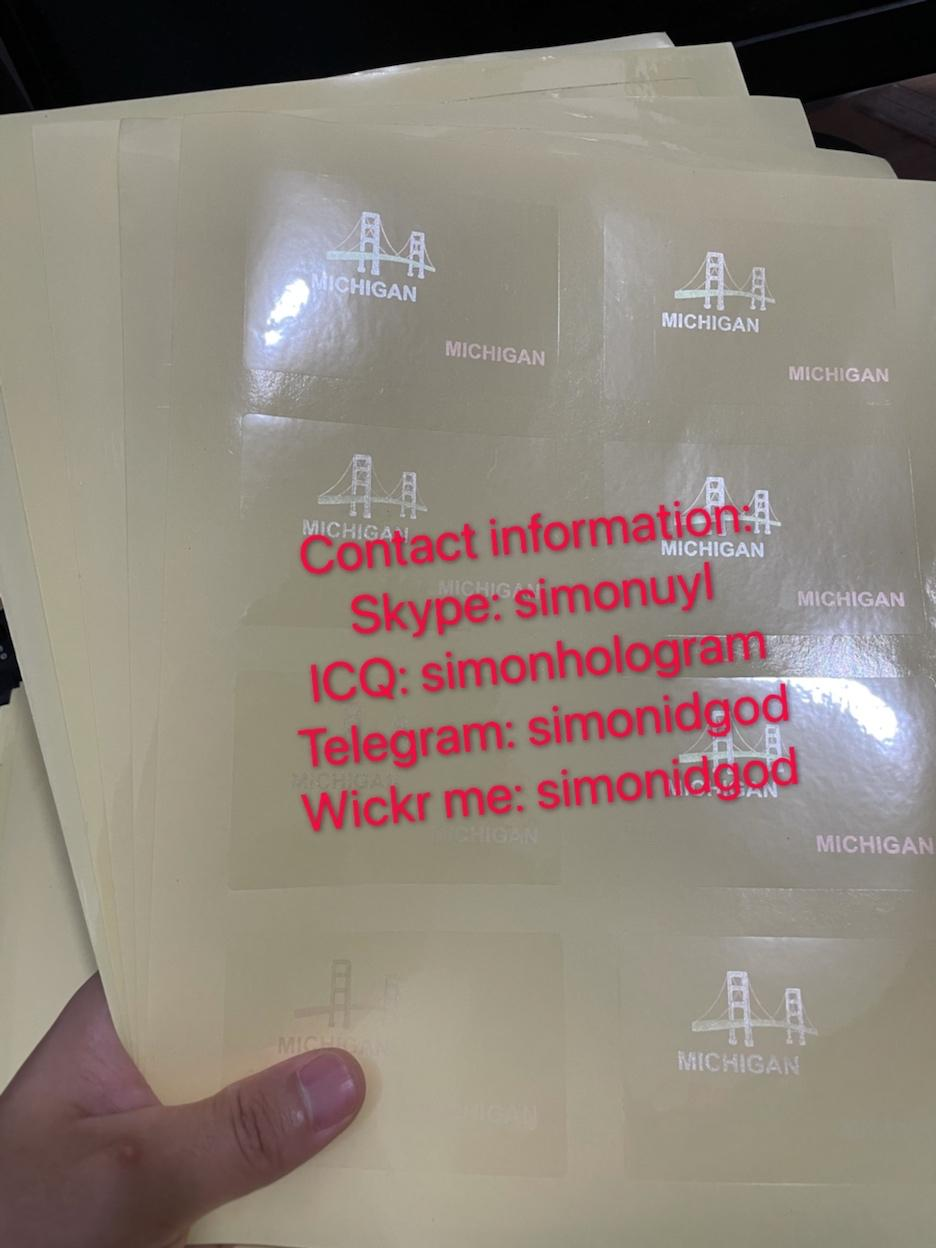 New Michigan MI hologram overlay OVI hologram sticker overlay for MI DL 3