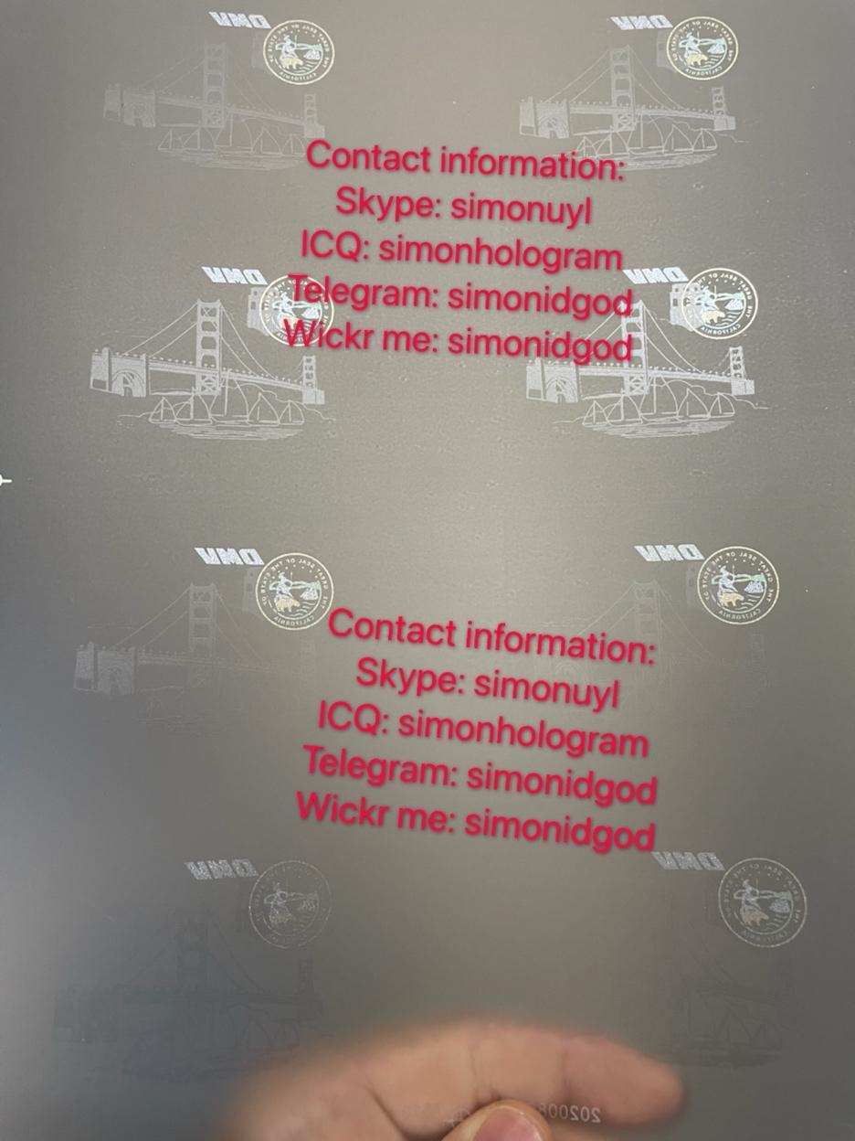 Old CA California TESLIN PAPER Pref New CA ID hologram laminate sheet template