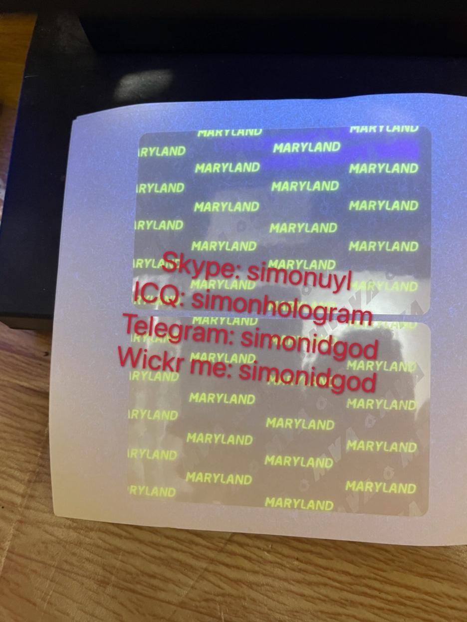 Maryland PA NJ IL UV state ID hologram overlay