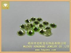 6mm CZ Gems apple green round Cubic Zirconia