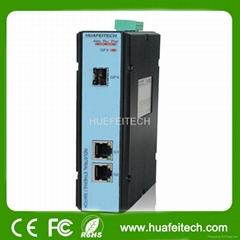 Managed Fiber to Ethernet Converter with 3 Gigabit Ports