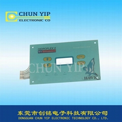 Custom 3M adhesive 4 buttons membrane switch panel with window and pin