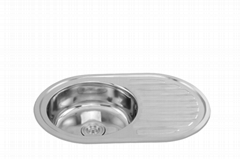 Single round bowl competitive price kitchen sink with drainboard WY-7750