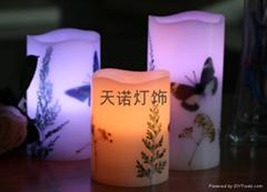 蝴蝶干花電子蠟燭燈