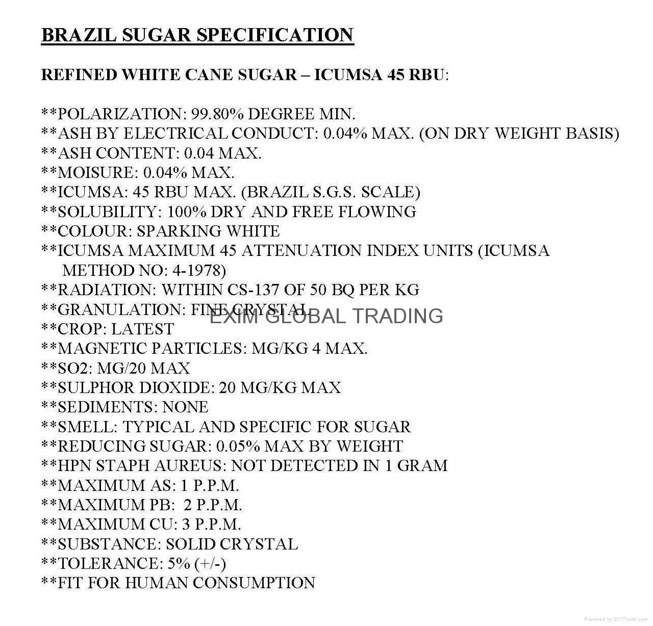 Refined White Cane Sugar - ICUMSA 45 RBU (Brazil) 5