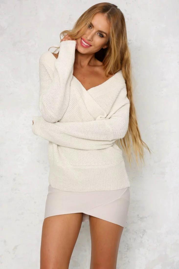 OEM fashion lady sweater blouse sexy knitwear 2