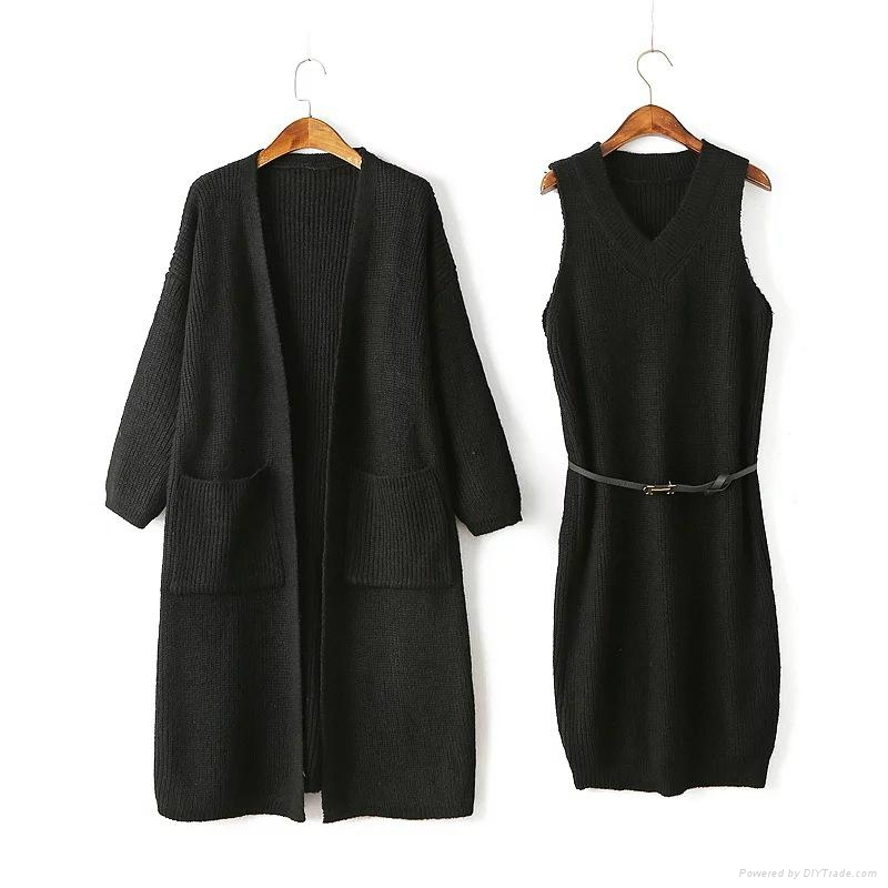 OEM Fashionable official lady sweater coat and dress sets 1