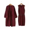 OEM Fashionable official lady sweater coat and dress sets 2