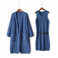 OEM Fashionable official lady sweater coat and dress sets 3