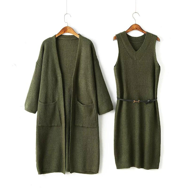 OEM Fashionable official lady sweater coat and dress sets 4