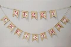 厂家生产批发圣诞节麻布长串 圣诞装饰品 Christmas Banner