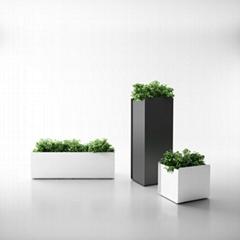 Uispair Square 100% Steel Garden Flower Planter for Modern Office Garden Decorat