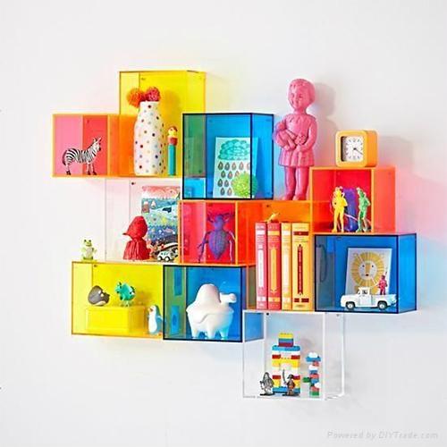 Colorful Acrylic Display Cases on Wall Mounted Display Shelf 1