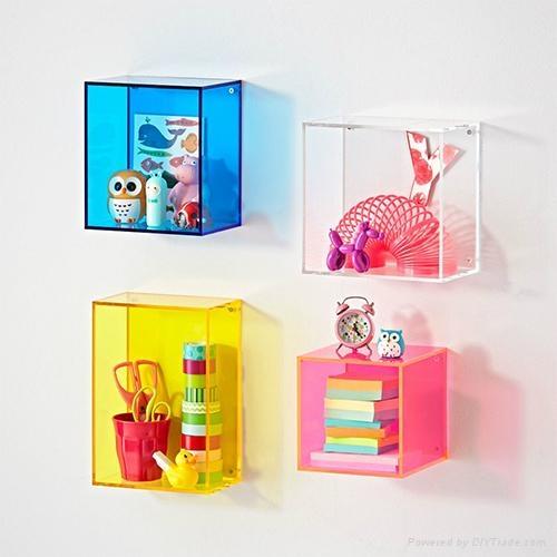 Colorful Acrylic Display Cases on Wall Mounted Display Shelf 4