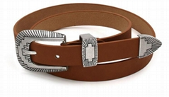 pu leather new stle belts with antique silver hardware