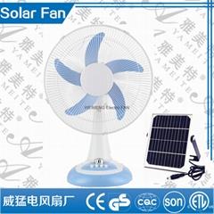 12V Solar  DC Fan WIth led light  rechargeable fan hot sell in 2016