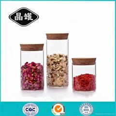 大号软木盖玻璃密封罐 透明玻璃储物罐 储物罐厂家批发