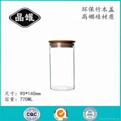 竹木盖玻璃密封罐 玻璃茶具储物罐花茶瓶 茶叶罐批发