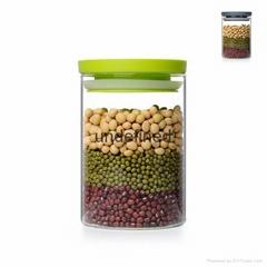 多彩可叠加塑料盖玻璃杂粮罐