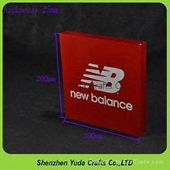 perspex custom brand block acrylic display holder