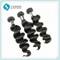 100% Human loose wave jet black hair