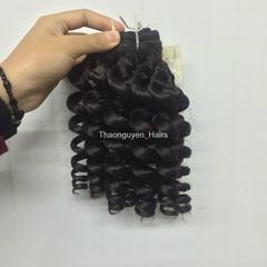 Machine Weft Curly/Wavy natural human hair