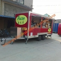 Red color mobile food truck fast food